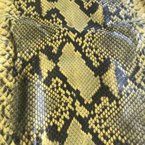 """""""SKU:10084 NAME:python leather oil bumblebee ANIMAL:python leather SPECIE:reticulatus ARTICLE:oil COLOR:bumblebee USE:leathergoods, shoes, garment SIZE:27+; 30+; THICKNESS:0,4/0,6 DESCRIPTION:soft, matt, waxy """""""