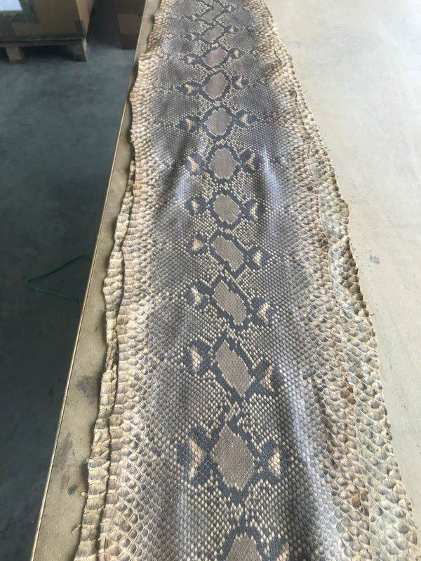 """""""SKU:10085 NAME:python leather tanning soie natural sand ANIMAL:python leather SPECIE:reticulatus ARTICLE:tanning soie COLOR:natural sand USE:leathergoods, shoes, garment SIZE:27+; 30+; 33+ THICKNESS:0,4/0,6 DESCRIPTION:soft, matt, waxy """""""