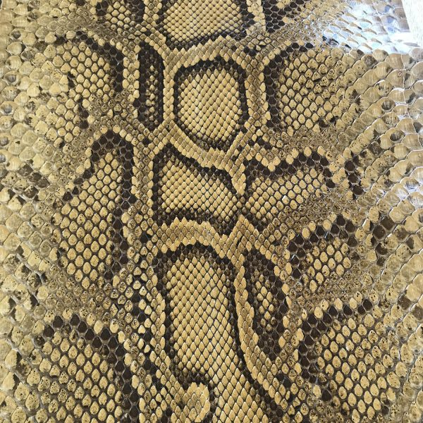 """""""SKU:10088 NAME:python leather lux honey acacia ANIMAL:python leather SPECIE:moluro ARTICLE:lux COLOR:honey acacia USE:leathergoods, shoes SIZE:30+ THICKNESS:0,4/0,6 DESCRIPTION:dressy, shinny """""""