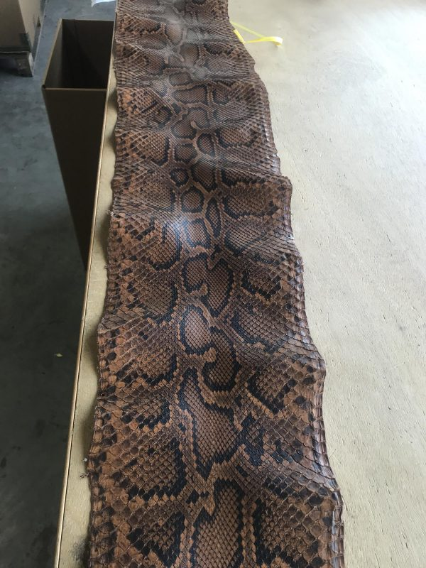 """SKU:10183 NAME:python leather chesnut cuir ANIMAL:python leather SPECIE:moluro ARTICLE:chesnut COLOR:cuir USE:leathergoods, shoes, garment SIZE:27+, 30+ THICKNESS:0,4/0,6 DESCRIPTION:soft, matt """