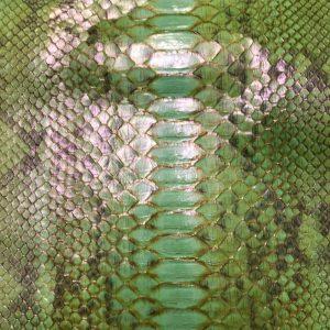 """SKU:65 NAME:python leather afrodite lime ANIMAL:python leather SPECIE:reticulatus ARTICLE:afrodite COLOR:lime USE:leathergoods, shoes, garment SIZE:27+; 30+; 35+ THICKNESS:0,4/0,6 DESCRIPTION:soft, shinny """